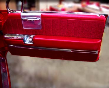 The late 60's Impala below used exotic materials with a hammered finish for the insert, and plain white vinyl for the trim. The logo was embroidered on a ...